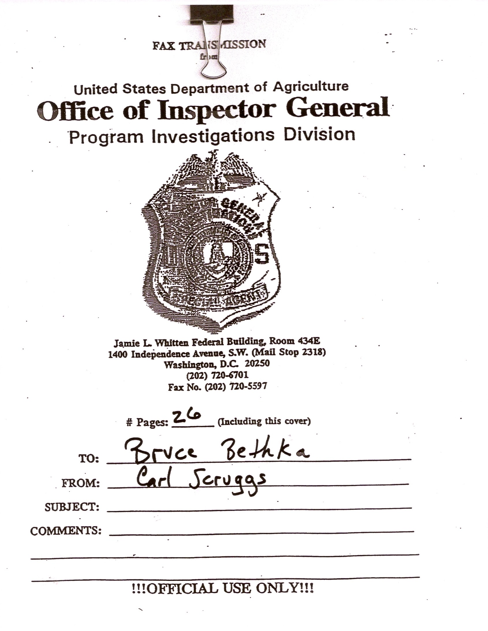 Office of Inspector General Investigation