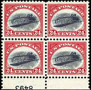 Block of 4 inverted Jenny stamps