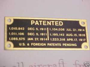 Curtiss JN-4 Jenny patent plate