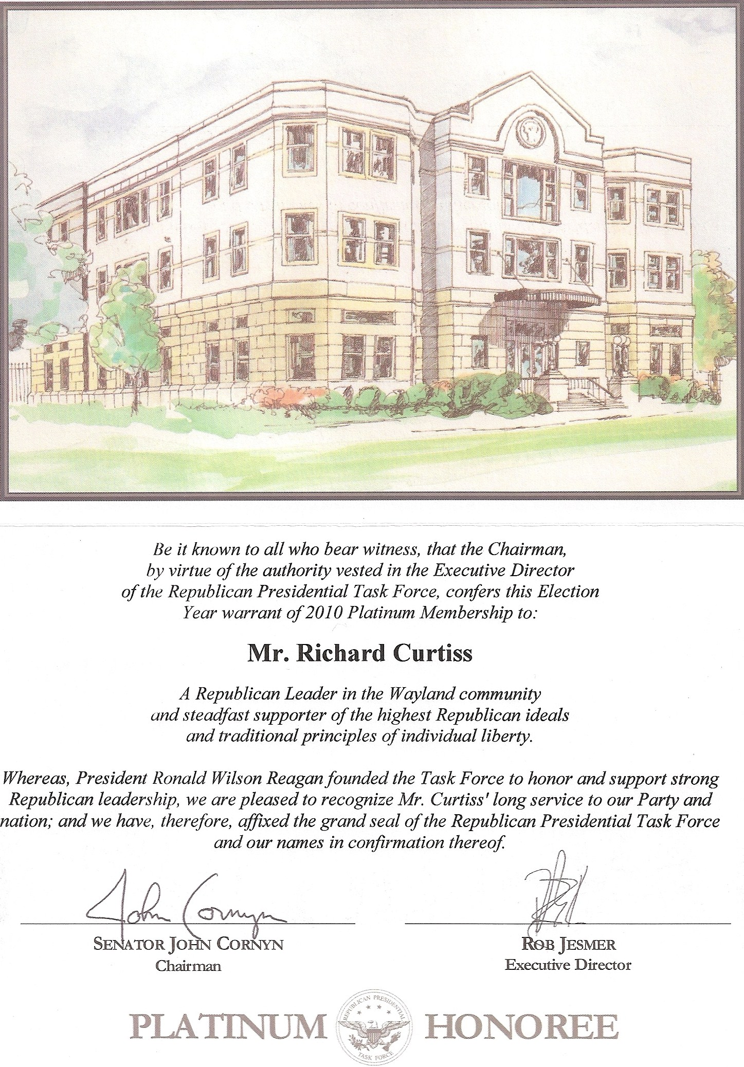 Platinum Honoree Certificate